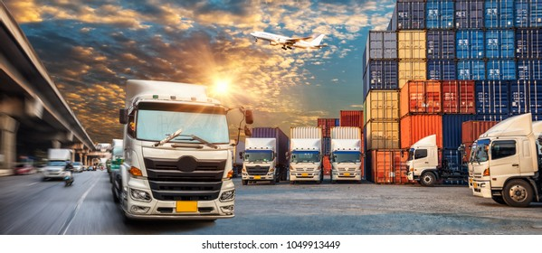 Business Logistics and transportation concept of Container Cargo ship and Cargo plane at sunset, container truck in ship port for logistic and transport business background