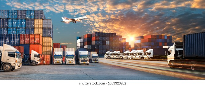 Business Logistics and transportation concept of Container Cargo ship and Cargo plane with working crane bridge in shipyard at sunrise, logistic import export and transport industry background