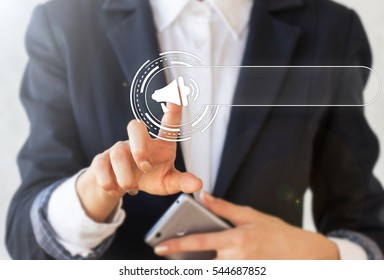 Business loudspeaker advertisement template web concept. Shouting loud speaker. Announces advertising by megaphone. Announcing promotion banners mock up empty blank for text technology