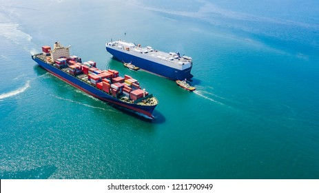 business luxury ship loading cars and shipping cargo containers logistics export import service open sea asia pacific and europe zone aerial view from drone