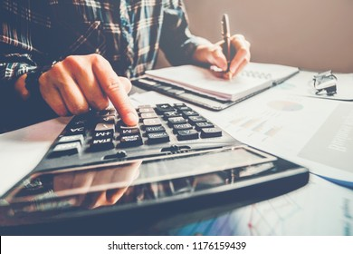 Business man Accounting Calculating Cost Economic