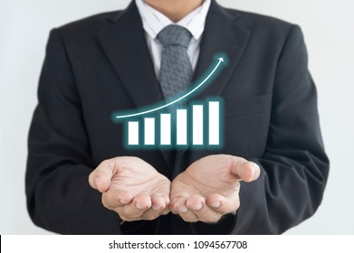 Business man is action for taking care of stock market result as in business concept.
