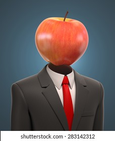 business man with an apple for a head