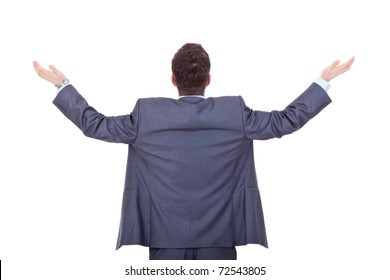 business man back, praying with his arms up , over white