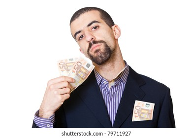 Business Man with Banknotes