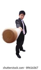 Business man and baseball bat