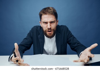 Business man with a beard, office, work.