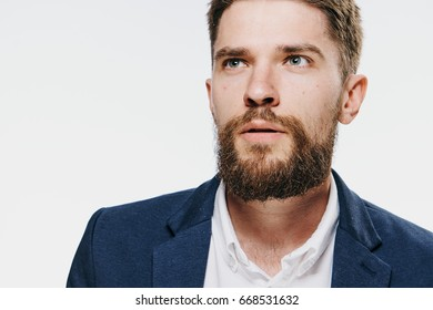 Business man with beard on white isolated background.