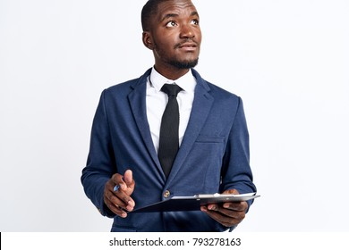 business man black with documents