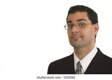 Business man in black suit smirks