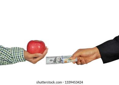 Business man buying apple from agriculturist, isolated white background.