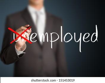 business man change unemployed to employed