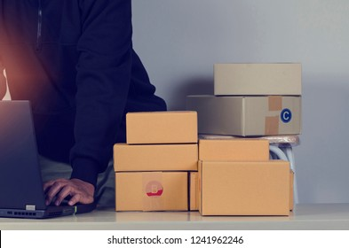 Business man check list shipment Customer.shopping online and delivery service concept.