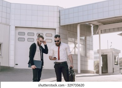 business man checking objects in glasses shirt