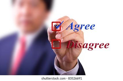business man choose agree word