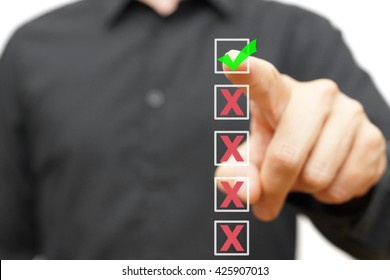 Business man is choosing correct answer or decision