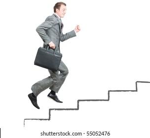 Business man climbing the corporate ladder