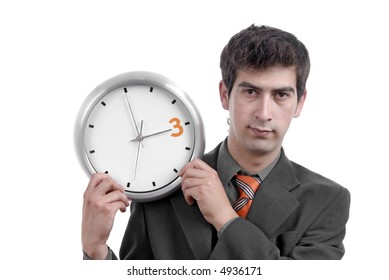 business man with clock on white background