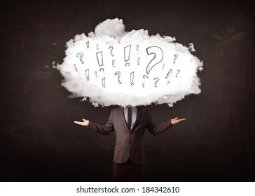 Business man cloud head with question and exclamation marks concept