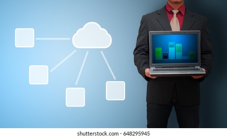 Business man and cloud links data