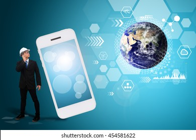 Business man and communication world : Elements of this image furnished by NASA