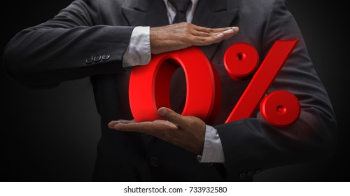 Business man compressing zero letter percent (3d rendering) are mean discount price or fee. Use for any business work present web banner illustration.