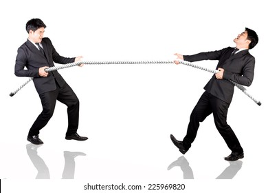 Business man concept of competition tug of war with himself