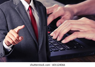 business man control worker