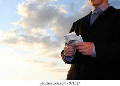 business man counting money