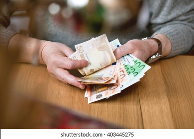 business man counts banknotes Euro. Euro currency from Europe, Euros.