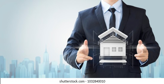 business man create design house or home, architecture building concept