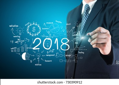 Business man creative thinking drawing charts and graphs business 2018 new year success strategy plan ideas, Inspiration concept analysis and planning, project management, brainstorming, development