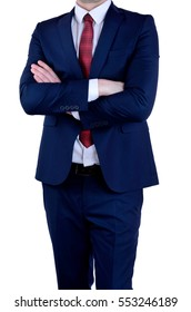 business man crossed arms on white background
