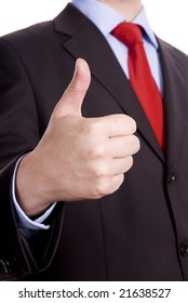 Business man in dark suit and red tie giving ok gestures
