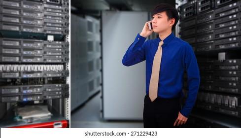 Business man in data center room