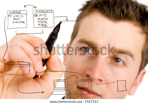business man designing a database plan on a screen