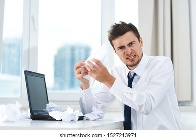 Business man at the desk finance office laptop official manager