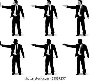 Business man with different hand positions
