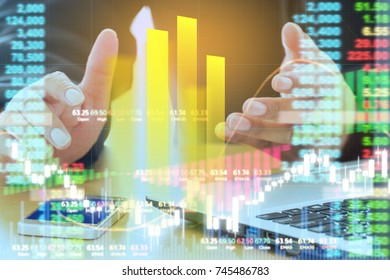 Business man digital stock market financial positive indicator background. Double exposure growth investor digital futuristic Business chart computer stock market financial Businessman technology data