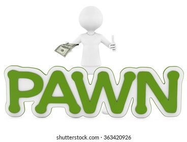 Business Man Displaying a Spread of Cash with pawn text. 3d image of pawnshop concept