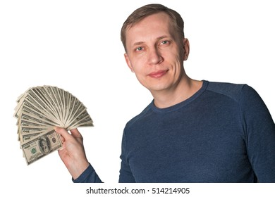Business Man Displaying a Spread of dollars Cash isolated on white