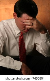Business man distraught