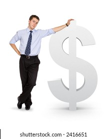 business man with a dollar symbol over a white background