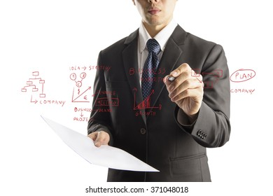 business man drawing graphic  on transparency screen