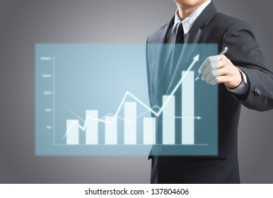 Business man drawing a growth chart