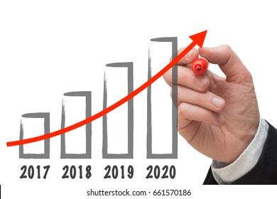 Business man drawing growth chart for the year 2020.