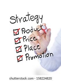 Business man drawing marketing 4P principle diagram