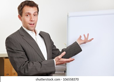 Business man during presentation pointing to white flipchart