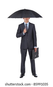 Business man in elegant modern suit hold an umbrella, isolated over white background