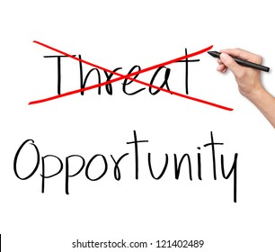 business man eliminate threat and choose opportunity